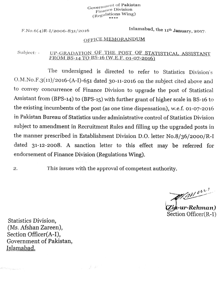 UP-GRADATION OF THE POST OF STATISTICAL ASSISTANT FROM BS-14 TO BS-16 w-e-f January 2016